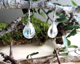 Iridescent Teardrop glass bead earrings