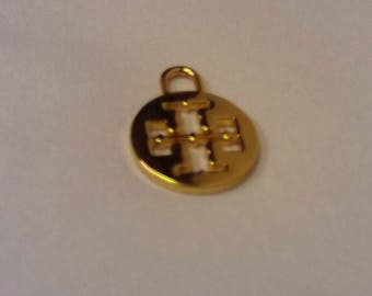 Tory Burch Designer Brass Pendant Ornament Pulled From Worn Handbag To Upcycle For Jewelry Making, Crafts, Or Bag Repair