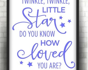 Twinkle twinkle little star  blue nursery print   * Printable 8 x 10  print   Instant Download /  1 j peg