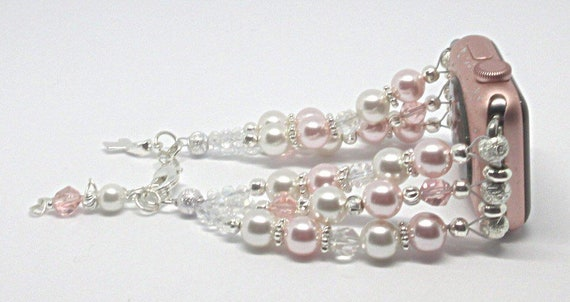 """Pink & White Pearl 6 3/4"""" to 7 3/4"""", ADJUSTABLE APPLE WATCH Band, Women Bead Bracelet, iWatch Strap, Apple Watch 38mm Only"""