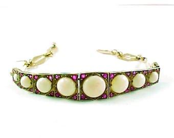 Edwardian Opal Ruby Strap Line Bracelet—English