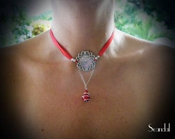 Red print Ribbon necklace and Red Pearl set