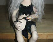 Avatar make up Princess warrior art cloth dollwith tattoos and white hair