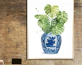 Blue and White China Vase poster Monstera print Ginger Jar Ming Vase watercolor Ming Indigo China Vintage art print Bouquet Monstera decor