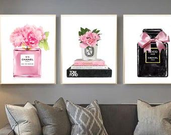Chanel Set of 3, Chanel perfume print, Fashion books  print, chanel perfume  watercolor, Chanel print, Chanel n.5 print, Diptyque print