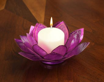 Purple Lotus Flower Capiz Shell Candle Holder - A Real Jewel of a Gift and Keepsake