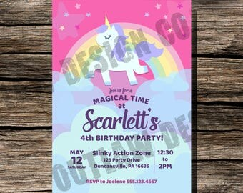 Unicorn Birthday Invitation Instant Download Printable Customizable Personalized Magical Rainbow Clouds Pink Purple Girl Invite 5x7