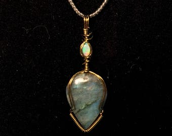 Stacked Ethiopian Welo Opal and Labradorite Teardrop in Brass wire, Gemstone, Wire Wrapping