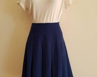 Preppy / 70s 80s / Size 12 / Royal Blue / Pleated / A-line / Midi Skirt
