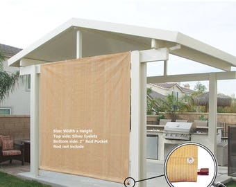 Custom Sized Sun Shade Rod Pocket Panel with Grommets for Patio,Awning,Window Cover, Instant Canopy Side Wall or Pergola -Banha Beige
