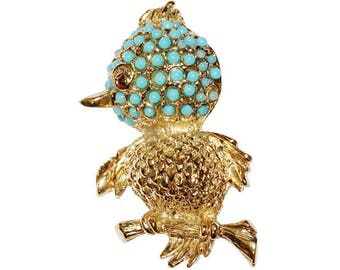 VINTAGE - Turquoise bird brooch