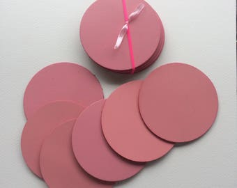 Strong genuine Leather pink coasters set of six