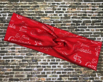 St. Louis cardinals turban headband, womens headband, yoga headband, team gear