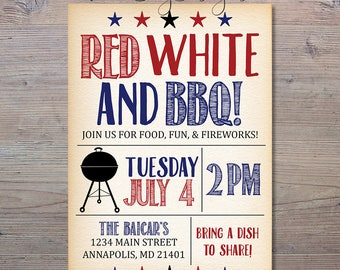 4th Of July BBQ Invitation, Red White And Blue Invitation, Fourth Of July Cookout, Summer Invitation, BBQ Invitation, 4th Of July Invite