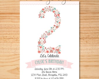 Floral Birthday Invitation, Floral Number Birthday Invite, Pink Birthday Invitation, Shabby Chic Birthday Invite, Floral Invitation