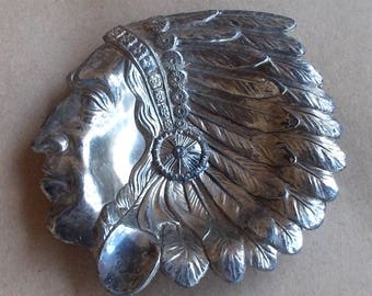 1940's Indian Chief Ashtray, Made in Occupied Japan, Pewter