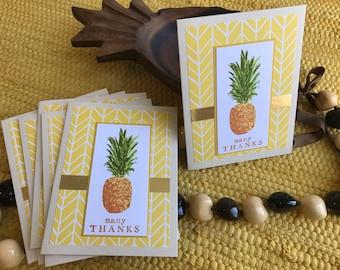 Set of 6 pineapple notecards THANKS blank inside