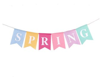 Spring Banner- Linen, Spring Party Decorations