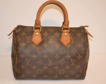 "Authentic Louis Vuitton Monogram Speedy 25 Handbag Purse in Brown 80's Vintage - ""Good Condition"" (SALE - 77 % OFF)"