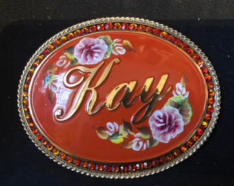 Hand painted name buckle w/Swarovski crystals