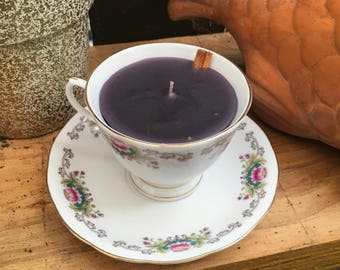 Divination Tea Cup candle with mugwort and cinnamon for divination and scrying ancestral and spirit work