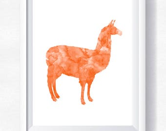 Llama print, llama printable, llama watercolor, llama wall art, lama printable, instant download, llama printable, lama poster