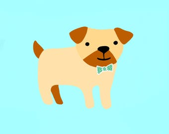 Dapper Pug Illustration Digital Portrait
