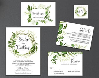 5-Piece Suite-Greenery Wedding Invitation Templates, Printable Garden Foliage Wreath Wedding Invitation Suite (Emily), Editable Text