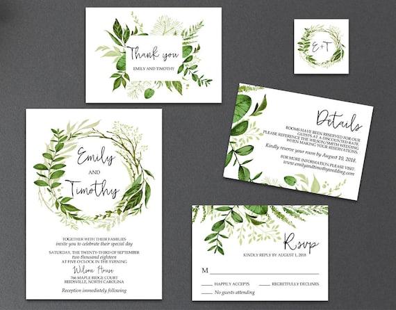 5-Piece Suite-Greenery Wedding Invitation Templates Printable