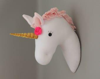 Plush Taxidermy Baby Pink Wall Mounted Unicorn Head Girls Bedroom Nursery Decoration