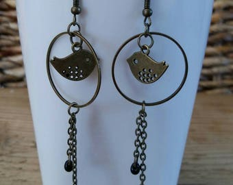 "Dangle earrings in bronze ""Birds"""