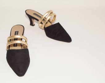 MARTINEZ VALERO \ Vintage Shoes \ Black Suede Mules with Gold Metallic Leather Straps
