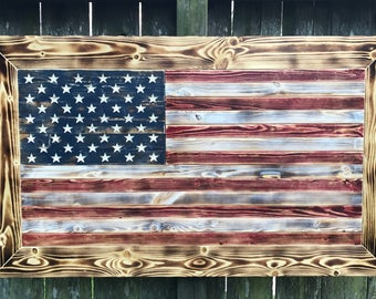 Framed American Flag with accent lighting