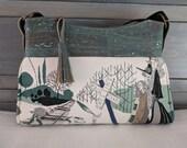 Ghastlie Pastoral Gray Gabby Handbag with Blue Gray Cork Accents