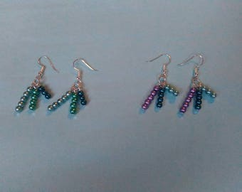 3 Tier Sea Shades Mermaid Seed Beads Fashion Earrings Handmade