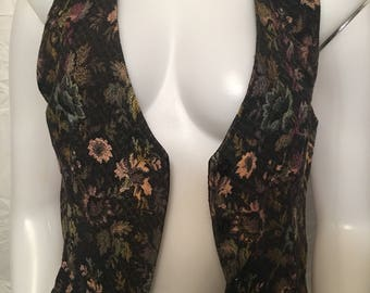 Vintage unique vest womens floral black back