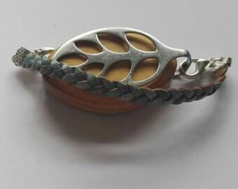 Bellabeat bracelet braided denim blue leather strap to wear with Bellabeat Leaf