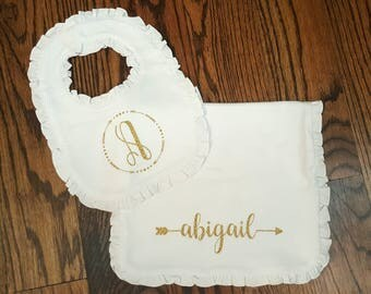 Personalized baby gift set - bib and burp cloth - add monogram or name