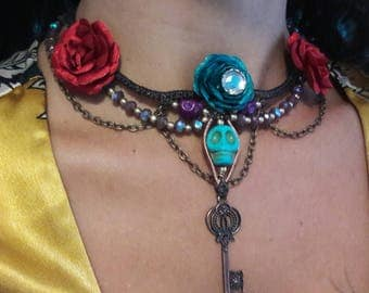 Howlite Skull Macrame Day Of The Dead Festival Necklace