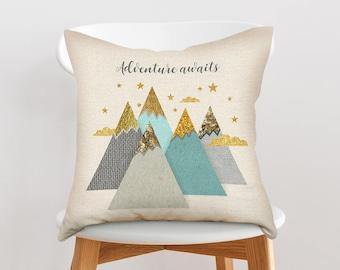 Woodland nursery throw pillow, Woodland nursery pillow, Decorative nursery pillow, Throw pillow, Cushion cover, Mountains pillow, Forest art