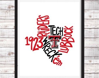 Texas Tech | Raiders | Printable Art | College Student Gift | College Graduation | Dorm Room Decor | Wall Art | Wall Decor