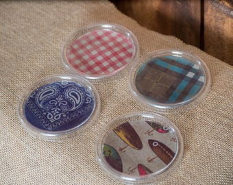 Round Plastic Country-Themed Drink Coasters, Set of 4