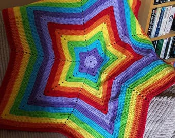 Rainbow, free post,rainbow star blanket, star blanket, baby blanket, baby gift, bedding, throw, blanket, christening gift, handmade, crochet