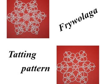 Tatting Snowflake, Christmas tree decorations, Tatting Christmas Star, Shuttle, Instant download PDF, 2 Schemes Tatting lace Pattern PDF