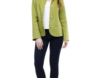 Olive linen jacket,woman long sleeve blazer casual