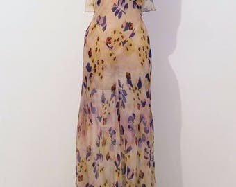 SOLD - 1930's Floral Chiffon Gown