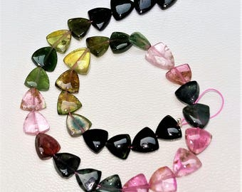 Natural WATERMELON TOURMALINE smooth beads, triangle shaped beads, smooth triangle ,7 mm -- 8 mm, 9.5 inch strand,45 ct.[E1009]
