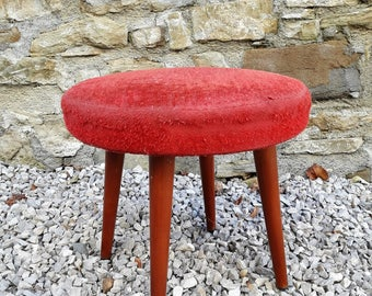 Vintage Mid Century Cushion Stool / Ottoman / Foot Stool / Yugoslavia / Red Plush / 60s