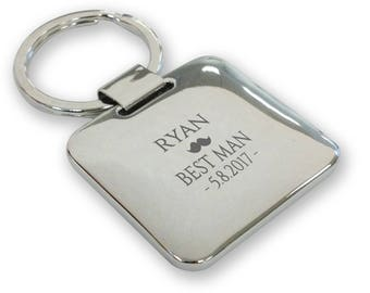 Personalised engraved BEST MAN wedding keyring gift, silver plated deluxe pillow square keyring - SQU10