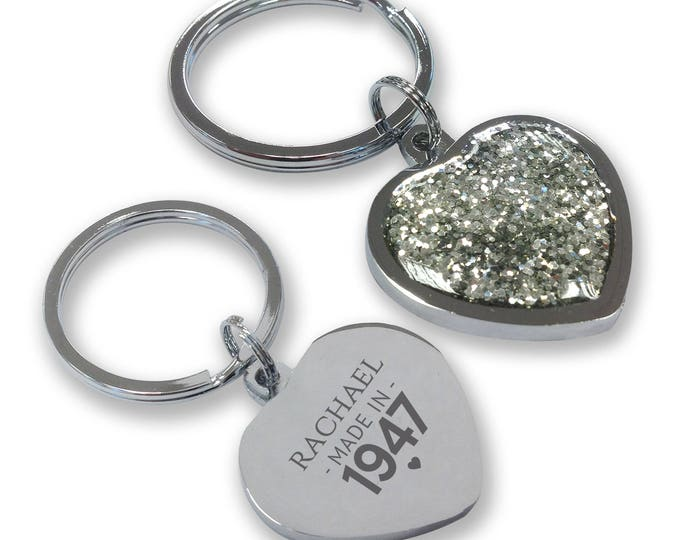 Personalised engraved 70TH BIRTHDAY keyring gift, glittery bling heart shaped keyring - GHE-M70